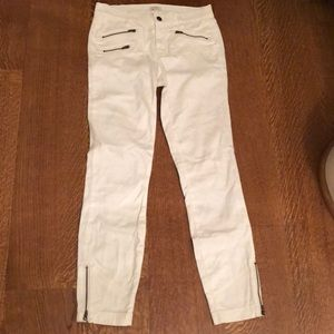 J. Crew Factory Stretch White Zip Accent Pants 25